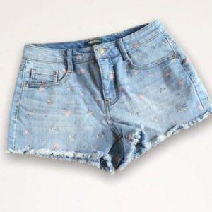 Wild Fable Mini Flower Printed Raw Hem Jean Shorts